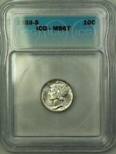 1939-S Silver Mercury Dime 10c Coin ICG MS-67 GEM BU