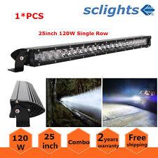 25inch 120W Spot Flood Combo Slim LED Work Light Bar Single Row Car SUV Off Road