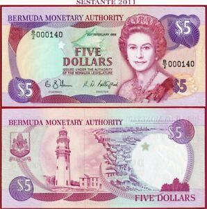 (com) BERMUDA - 5 DOLLARS 20.2.1989 - Low Number  -  P 35b   - UNC perfect