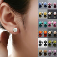 1 Pair New Austrian Crystal Pave Disco Clay Ball Beads Steel Stud Earrings 10 mm