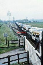 PHOTO  UFTON LEVEL CROSSING 1970'S CAR TRANSPORTER TRAIN PASSING