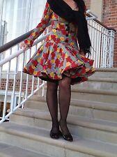 Oscar de la Renta vintage Miss O floral print silk  dress size 6  8 M Rockabilly