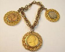 Vintage Chunky Coin Charm Bracelet