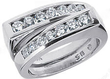 Band 18k Gold F color Vs clarity 0.93 carat 2 Row Round Diamond Ring Anniversary