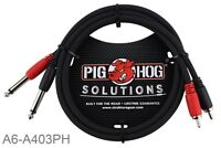 "3ft Pig-Hog Dual 1/4"" TS Mono Male Plug to 2-RCA Male Plug Audio Cable"