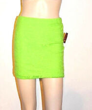 Sexy Neon Green Poly Lace Overlay Lined Pull-On Min Skirt Hi Waist Style Raver S