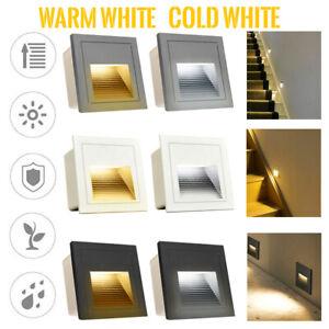 LED Wandeinbauleuchte Stufenleuchte Treppenlicht Beleuchtung Lampe Alu 3W IP65