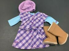 """My American Girl """"Pretty & Plaid"""" Full Outfit Dress Shirt Boots Hat EUC"""