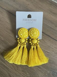 Lovely Topshop Yellow Tassel Earrings Party Holiday Festival Cost £14.00 NEW 1