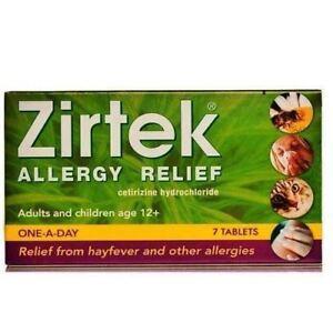 6 Packs of Zirtek Allergy Relief 7 Tablets 10mg coated hayfever other Allergies