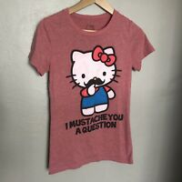"""Hello Kitty Womens """"I Mustache You A Question"""" Pink T-Shirt Tee Size Medium M"""