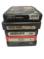 Lot Of 5 Classic Rock 8 Track Tape~Hendrix, Cheap Tric, Led Zep, Aerosmith,Tull