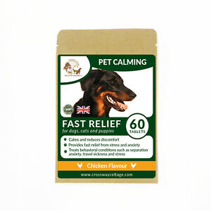 Calming Tablets for Dogs & Cats, Natural Calming Supplement Chicken Flavour