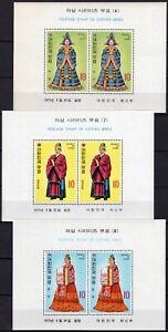 Corea del Sud - Lotto di 3 foglietti (abiti di corte), 1973 - Nuovi (** MNH)