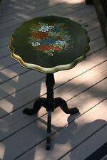 Vntg Accent Table Tilt-top Black Ornate Handpainted Flowers Imported