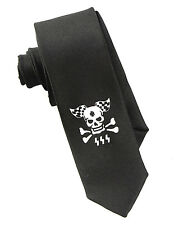 Car Racing Flag Skull Men's Neck Tie Halloween Fashion Skinny Black Necktie