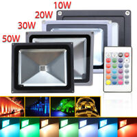 LED RGB Floodlight 10W 20W 30W 50W Flood Light Outdoor Garden Waterproof Remote