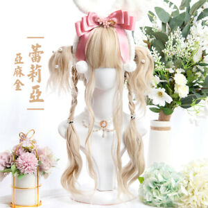 Japanese Linen Gold Alice Long Curly Hair Lolita Sweet Girl Daily Party Wig
