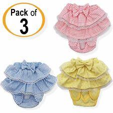 SET - 3 COLORS Dog Diaper Female Girl Sanitary Pants SKIRT Cotton For SMALL Pets