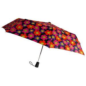 Totes Umbrella Flower Auto Open Large Rain Sun Travel Compact Mini Folds