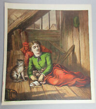 CAT WATCHING OVER BELOVED SLEEPING MASTER ANTIQUE ART PRINT LITHOGRAPH 1872