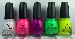 5 Colors China Glaze Nail Polish NEON Neons Summer Bright Lacquer
