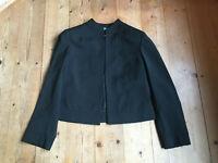 Blazer Jacke Kurz Blazer von Cedosce C2C schwarz Stehkragen Schurwolle 38 40