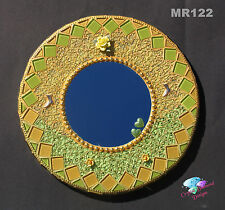 Gold and Green Mosaic Wall Mirror, Handmade Look Great in your Home MR122