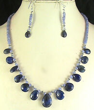 XCLUSIV 149ct NATURAL TANZANITE SAPPHIRE BRIOLETTES BEADS NECKLACE FREE EARRING