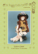 LIZZY & CHLOE - Sewing Craft PATTERN - Cloth Rag Doll Rabbit Bunny Bunnies