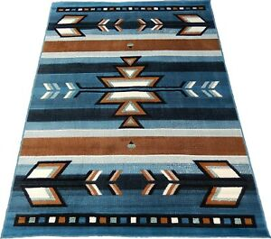 8x11 Area Rug Light Blue Black Southwest Carpet Native American Home textiles
