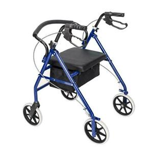 US Folding Heavy Duty 450lb Rolling Rollator Walker With 4 Wheels Wide Seat Blue
