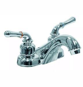 AquaPlumb 1554090 Water-Saving 2 Handle Plastic Bathroom Faucet w/Chrome Finish