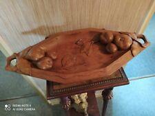 Corbeille à Fruits en bois scullpté signée J.Zatelli