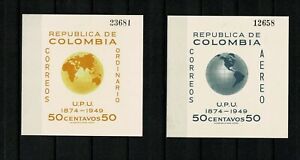 SC27 COLOMBIA 1950 Two miniature sheets 75th anniv. of the UPU  MH
