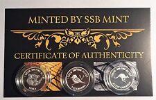 Set of 3, 999 Pure Silver 1 Gram coins, Roo, Koala, Kookaburra, with Certificate
