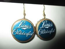 13&18 German LEINIE'S OKITOBERFEST Blue White Gold Tone Beer Bottle Cap Earrings