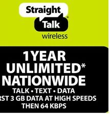 Straight Talk Unlimited Service Refill Paper Prepaid Top Up 1 Year! 5GB Monthly