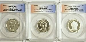 2009 P-D-S Zachary Taylor 3 coin Set  First Day Issue ANACS Certified