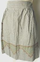 MCM 40s - 60s  Vintage Floral Apron Embroidered Half White BROWN Gingham Country