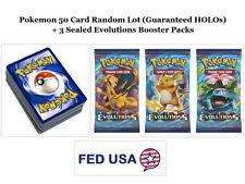 Pokemon TCG: 50 Card Lot Guaranteed 5 HOLOs + 3 Evolutions Booster Packs