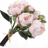 8 Heads Real Touch Latex Peony Bridal Flower Bouquet Wedding Bridesmaid Flowers