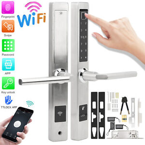 WiFi Smart Electronic Door Lock System Kit Biometric Fingerprint Password Card