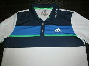 Dustin Johnson adidas Climacool Used Worn White Polo Shirt Men M 2015 Netjets