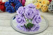 1 Bunch Colourfast Foam Rose Bouquet Wedding Artificial 6 Flowers 35 Colours 5cm Light Lilac