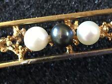 Intricate Designer 9K Gold and Black &White Cultured Pearl Bar Brooch, Vintage
