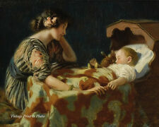 Cradle Baby Sleeping Art - Lullaby Mother Child by H Roseland  8x10 Print 0228