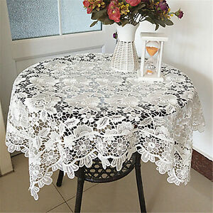 Square Embroidery Lace Table Place Mat Floral Party Home Decor Microwave Cover