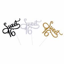 2x Sweet 16 Girls Birthday Cake Topper Stand Gold Glitter Cupcake Decoration HK