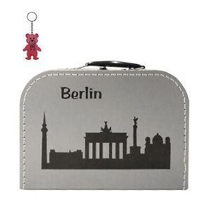 Pappkoffer silber mit Skyline Berlin inkl. Reflektor Geschenkkoffer Stadtkoffer